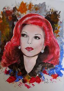 Italienisch, Zeitgenössische kunst, Dame, Acrylportrait