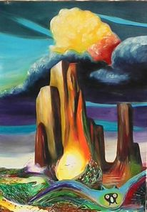 Uhu, Malerei, Wolken, Eule