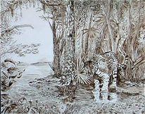 Skizze, Tiere, Urwald, Malerei