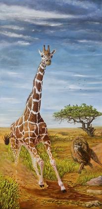Savanne, Phantastischer realismus, Großkatze, Tierwelt