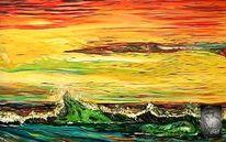 Welle, Ölmalerei, Bunt, Wasser