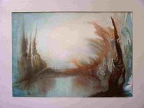 Stimmung, Aquarellmalerei, Landschaft, Fantasie