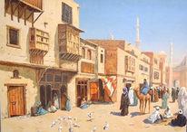Modern, Malerei, Landschaft, Arabisch
