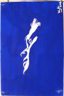 Blau, Gesicht, Weiß, Malerei