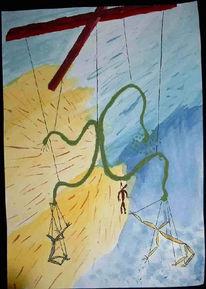 Malerei, Grün, Gelb, Abstrakt