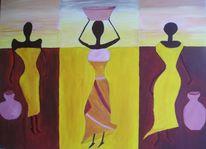 Frau, Figural, Malerei, Braun