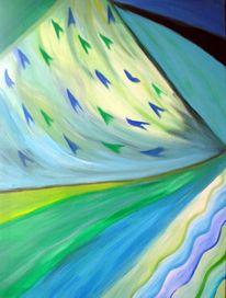 Malerei, Blau, Grün, Bewegung