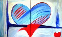 Herz, Abstrakt, Malerei, Blau