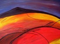 Lila, Malerei, Landschaft, Berge