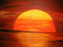 Malerei, Landschaft, Meer, Sonne