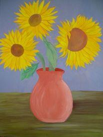 Vase, Malerei, Tisch, Sonnenblumen