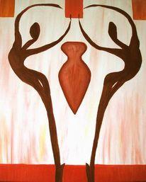 Abstrakt, Malerei, Rot, Weiß