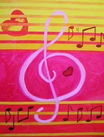 Noten, Abstrakt, Gelb, Malerei