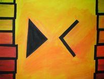 Malerei, Rot schwarz, Gelb, Abstrakt