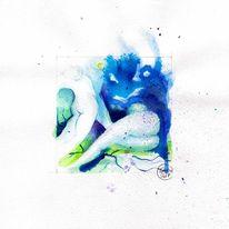 Aktzeichnung, Brust, Aquarellmalerei, Zeichnen