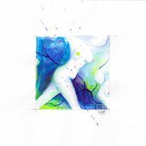 Aquarellmalerei, Tusche, Akt, Aktzeichnung