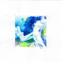 Aquarellmalerei, Grün, Tusche, Akt