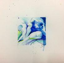 Aquarellmalerei, Blau, Aktzeichnung, Skizze