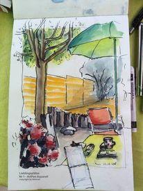 Skizzenbuch, Terrasse, Skizze, Sonnenschirm