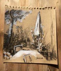 Garten, Sonnenschirm, Skizzenbuch, Terrasse