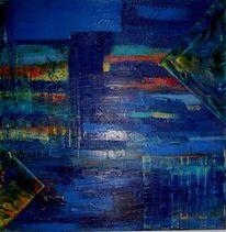 Abstrakt, Blau, Malerei, Quadrat