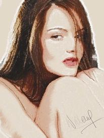 Frau, Hübsch, Digital, Portrait