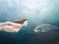 Figural, Wasser fisch unterwasser, Malerei, Wasser
