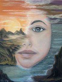 Gedanken, Zeichnung, Sonne, Wasser