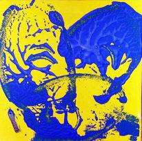 Abstrakt, Gelb, Blau, Acrylmalerei