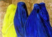 Afghanische, Grobsandpaste, Frau, Strukturacrylpaste