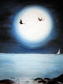 Landschaft, Malerei, Meer, Pastellmalerei