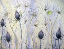Blumen, Blau, Distel, Blumen aquarell