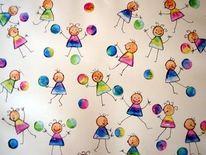 Kinderbild, Strichmännchen, Malerei