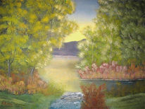Landschaft, Malerei, Bergsee