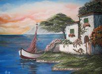 Insel, Meer himmel wolken, Boot, Süden