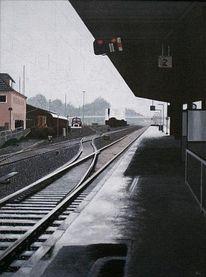 Himmel, Regen, Bahnhof, Malerei
