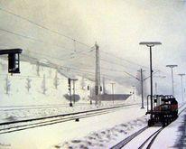 Malerei, Bahnhof, Landschaft, Schnee