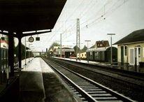 Bahnhof, Malerei, Regen, Landschaft