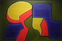 Grün, Abstrakt, Malerei, Ocker