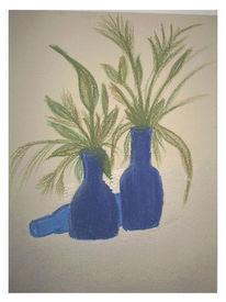 Malerei, Vase, Grün, Blau