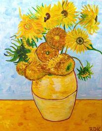 Vase, Blumen, Blumenstrauß, Malerei