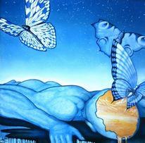 Ölmalerei, Menschen, Surreal, Blau