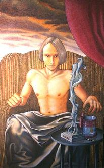Malerei, Portrait, Selbstportrait, Figural