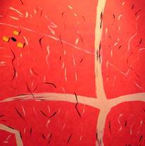 Abstrakt, Malerei, Rot, Unruhe