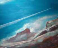 Malerei, Landschaft, Berge, Flugzeug