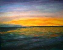 Sonnenaufgang, Meer, Himmel, Malerei