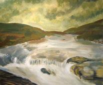 Wasserfall, Grün, Landschaft, Malerei