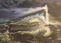 Meer, Malerei, Leuchtturn, Sturm
