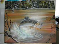 Wasser, Fischer, Forelle, Malerei