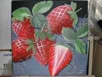 Holzwolle, Acrylmalerei, Malters, Erdbeeren